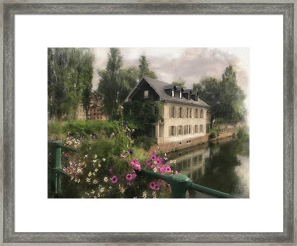 Framed Print featuring the digital art Strasbourg Bridge by Gina Harrison