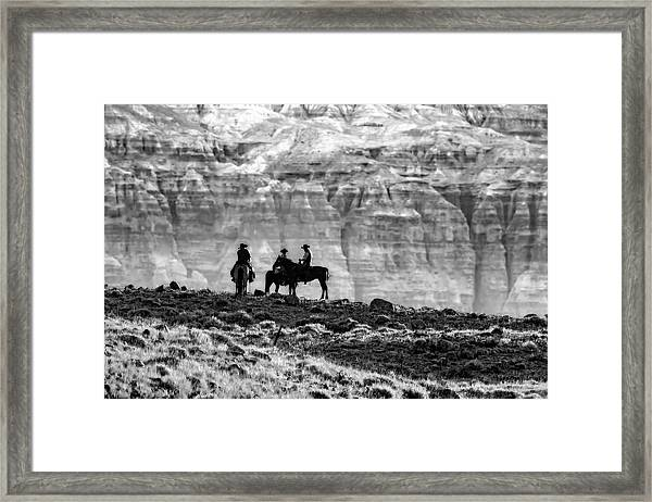 Strategy Meeting In Black And White Framed Print