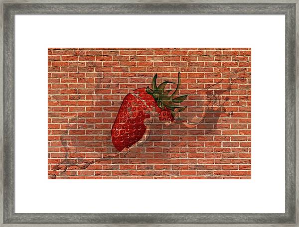 Strawberries And Cream Amazing Graffiti Framed Print