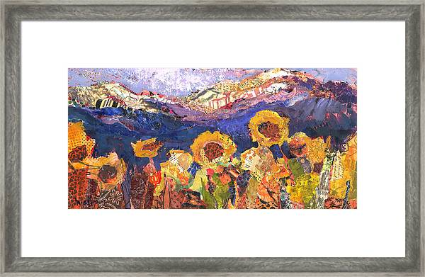 Framed Print featuring the painting Strawberries And Sunflowers by Shelli Walters