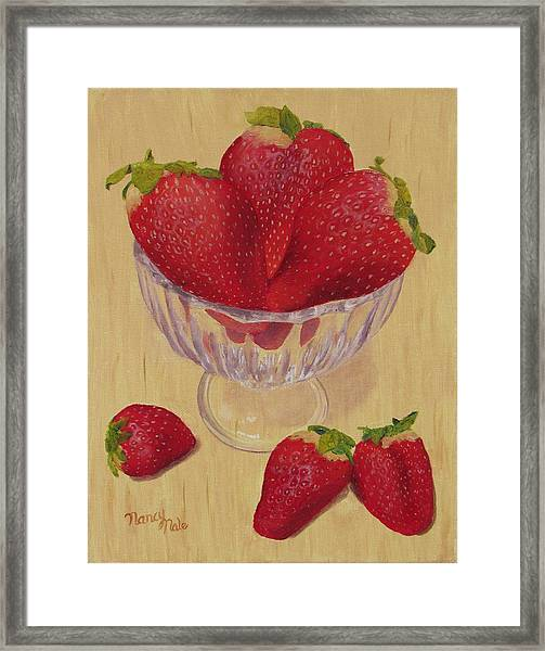 Framed Print featuring the painting Strawberries In Crystal Dish by Nancy Nale