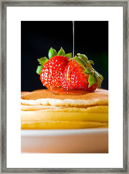 Strawberry Butter Pancake With Honey Maple Sirup Flowing Down Framed Print