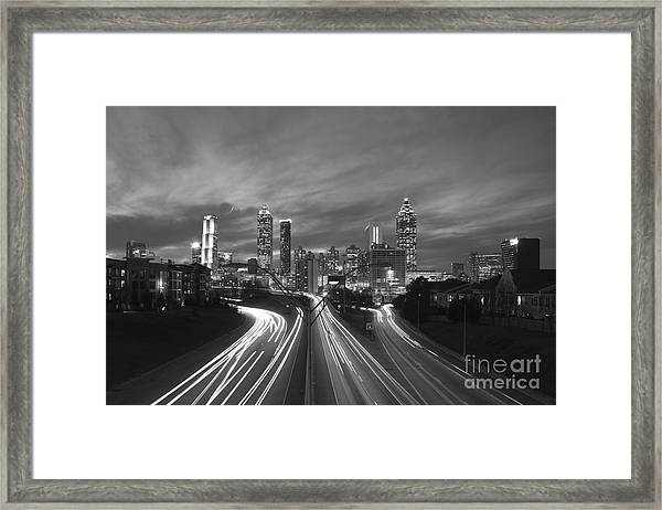 Streaking To And From Atlanta Night Lights Sunset 2 Framed Print