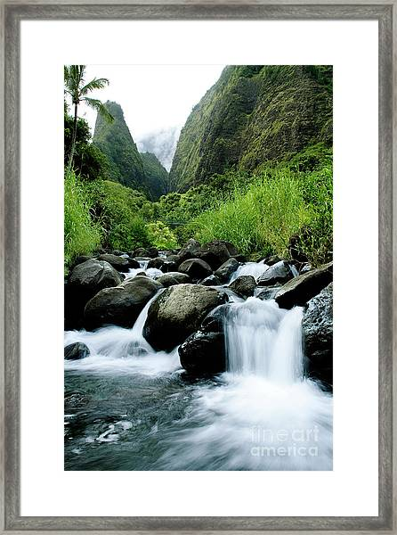 Stream Flowing From Iao Needle Framed Print