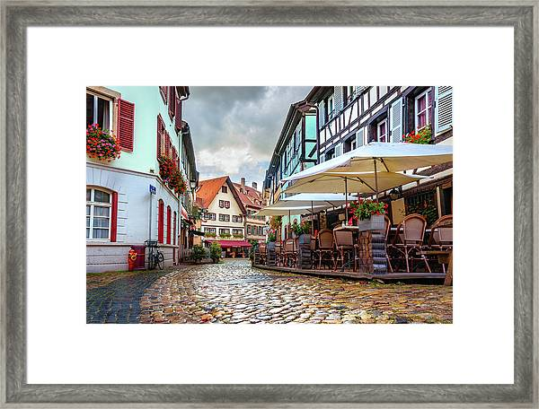 Street Cafe After The Rain Framed Print