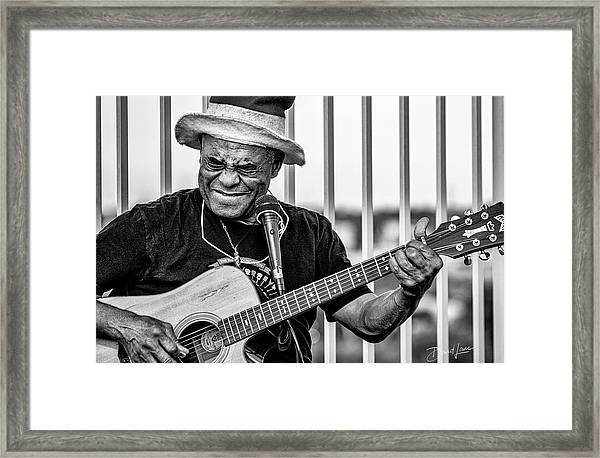 Framed Print featuring the photograph Street Guitarist by David A Lane