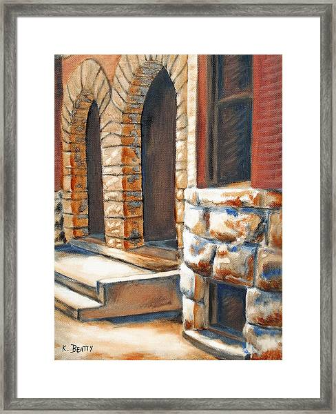 Street Scene Oil Painting Framed Print