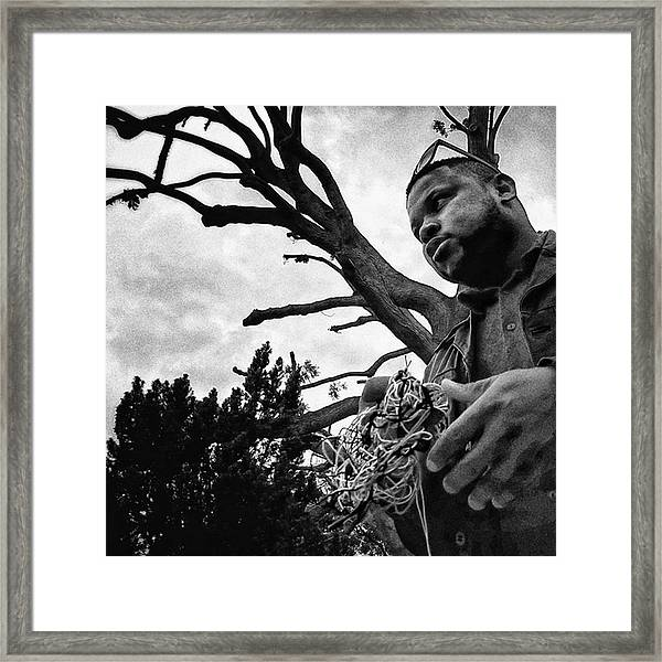 Street Vendor  #man #tree #portrait Framed Print