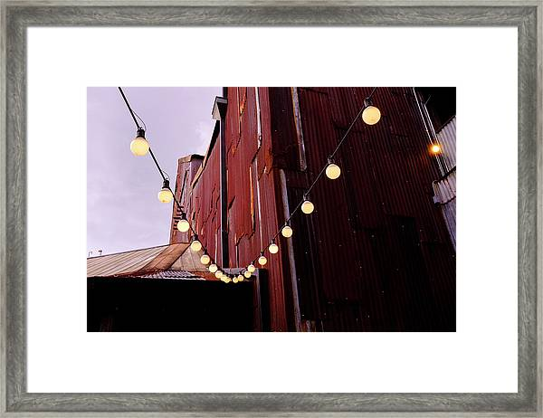 String Of Lights Near An Old Brown Building In Saint Augustine F Framed Print