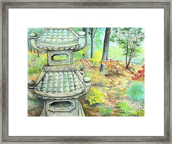 Strolling Through The Japanese Garden Framed Print