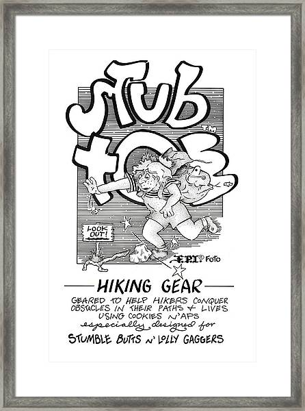 Real Fake Newsstub Toe Hiking Gear Ad Framed Print