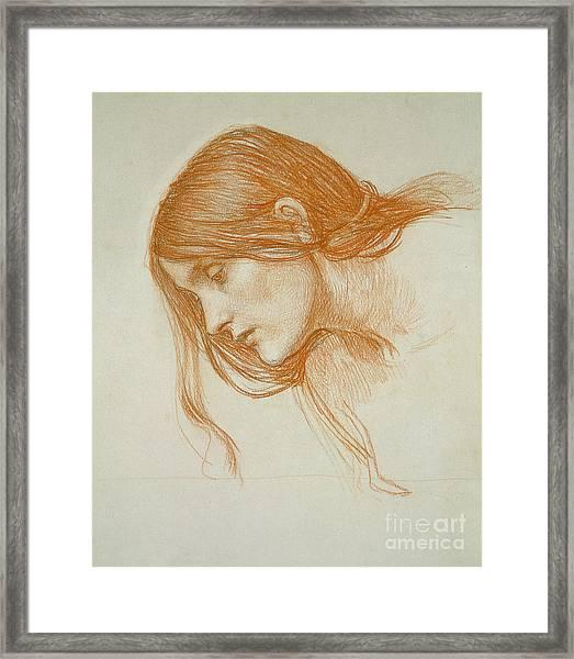 Study Of A Girls Head Framed Print