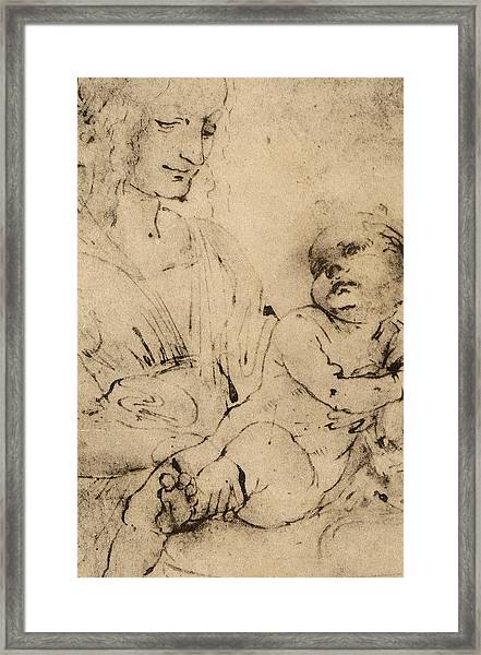 Study Of A Madonna And Child Framed Print