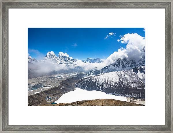 Stunning Panorama Over Gokyo In Nepal Framed Print