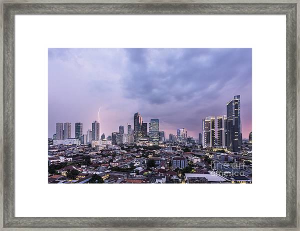 Stunning Sunset Over Jakarta, Indonesia Capital City Framed Print