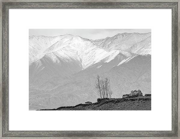 Stupa And Trees Framed Print