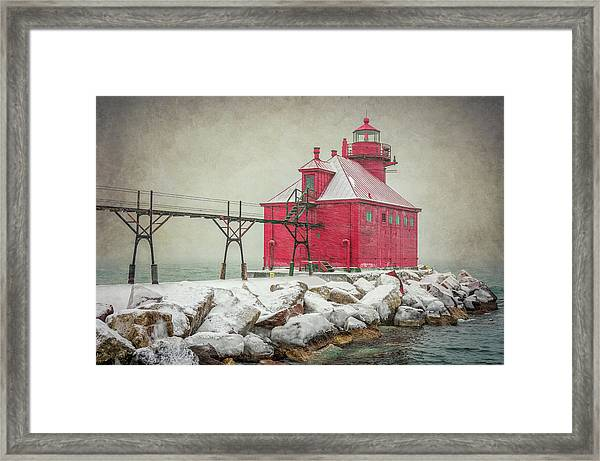Sturgeon Bay Pierhead Lighthouse Storm Framed Print