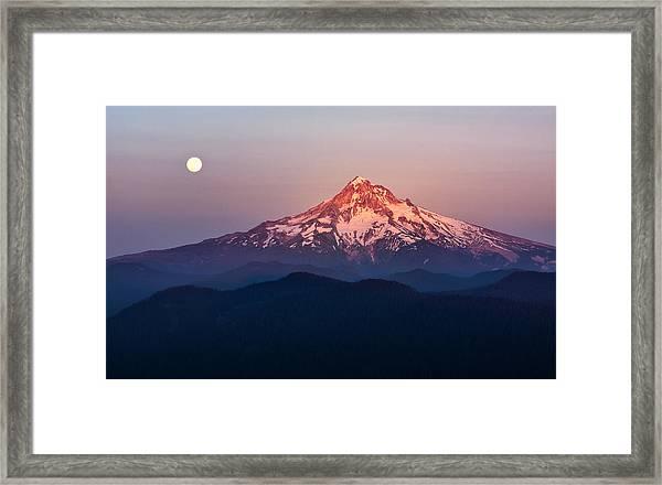 Sturgeon Moon Over Mount Hood Framed Print