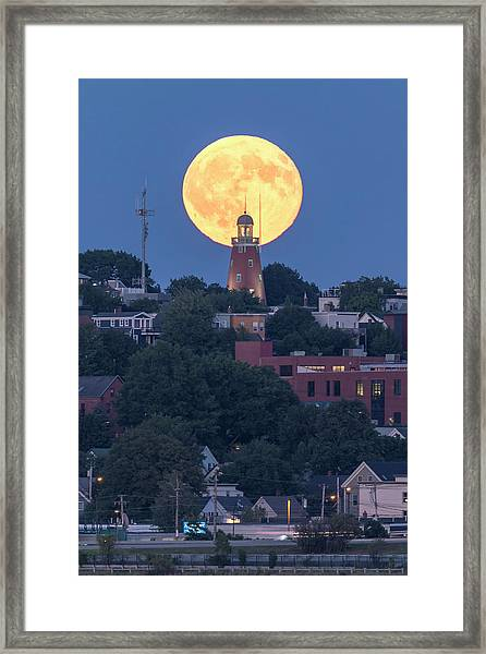 Sturgeon Moon Over Portland Observatory Framed Print