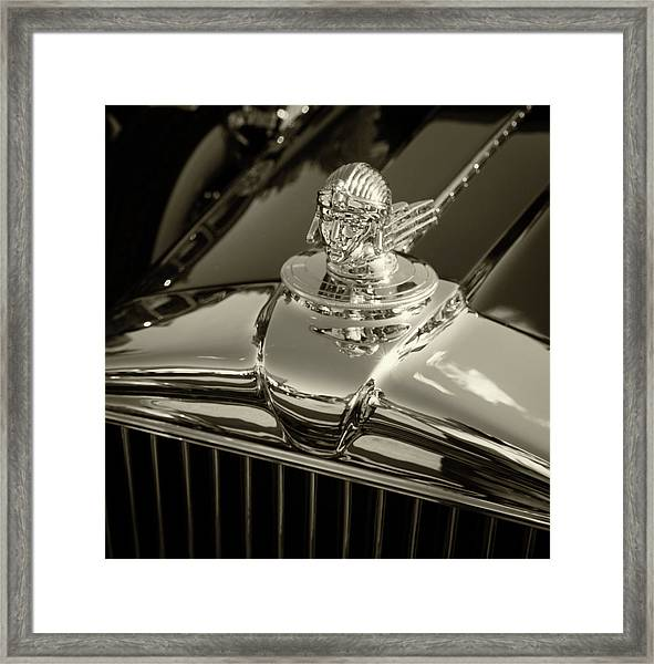Stutz Hood Ornament Framed Print