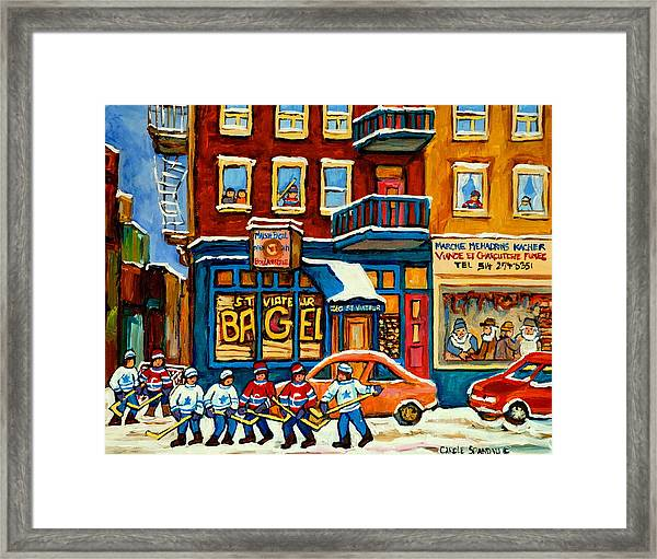 St.viateur Bagel Hockey Montreal Framed Print
