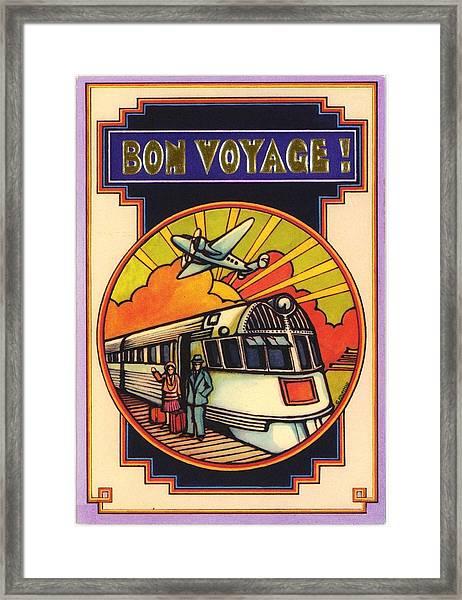 Stylized Bon Voyage Vintage Poster Framed Print