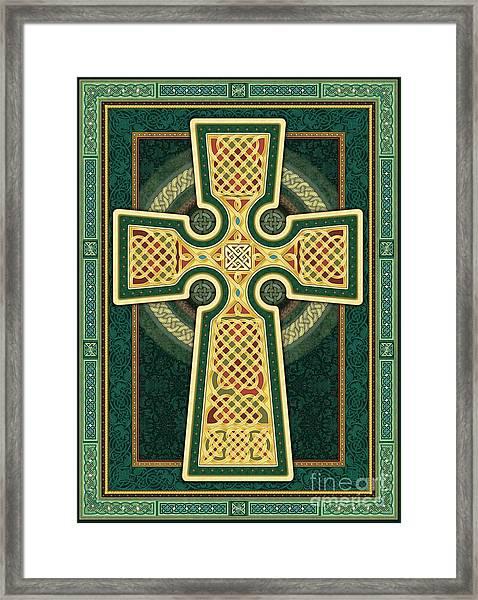 Stylized Celtic Cross In Green Framed Print