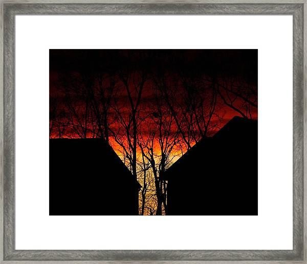 Suburban Sunsert Framed Print