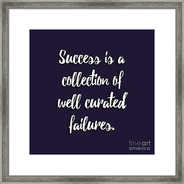Success Is A Collection Of Well Curated Failures Framed Print