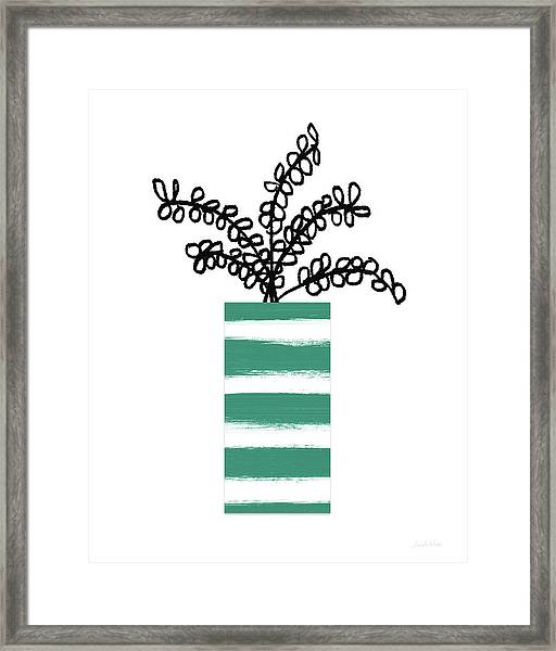 Succulent In Green Pot 1- Art By Linda Woods Framed Print