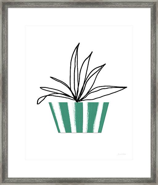 Succulent In Green Pot 3- Art By Linda Woods Framed Print