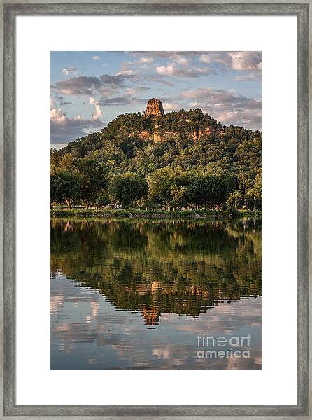 Sugarloaf Reflection Winona Framed Print by Kari Yearous