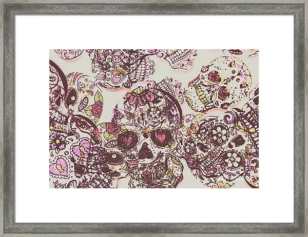 Sugarskull Punk Patchwork Framed Print