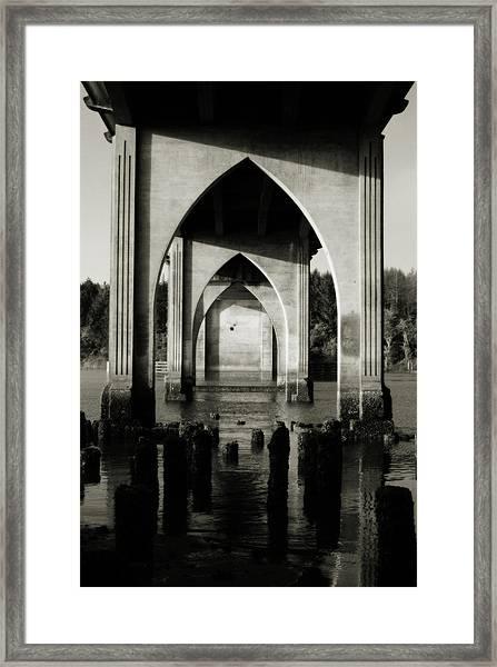 Suislaw River Bridge In Florence Oregon Framed Print
