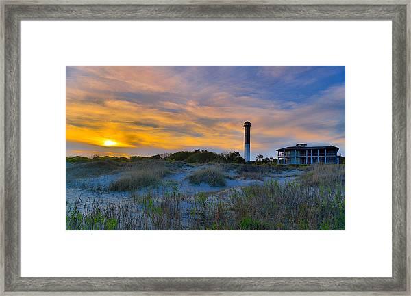 Sullivan's Island Lighthouse At Dusk - Sullivan's Island Sc Framed Print