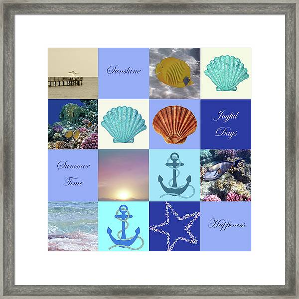 Summer Beach House Collage Framed Print