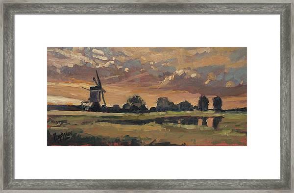Summer Evening In The Polder Framed Print