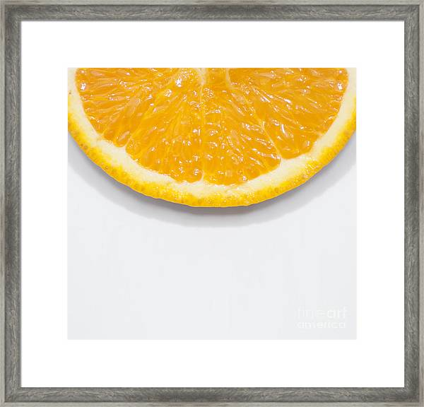 Summer Fruit Orange Slice On Studio Copyspace Framed Print