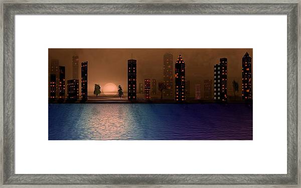 Framed Print featuring the digital art Summer In The City by David Dehner