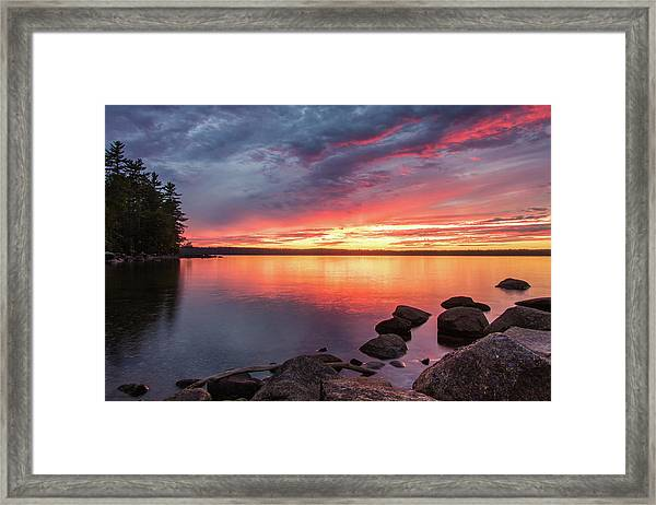 Summer Sets Over Sebago Lake, Maine Framed Print