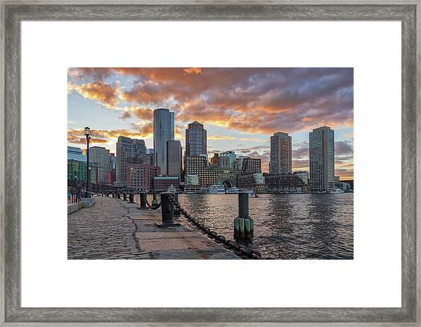 Summer Sunset At Boston's Fan Pier Framed Print