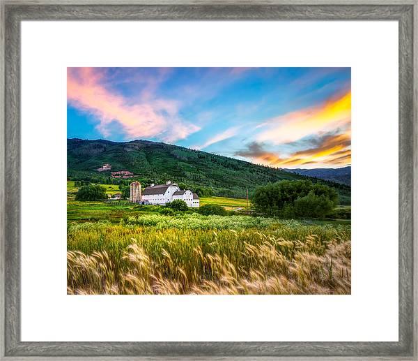 Summer Sunset At Park City Barn Framed Print