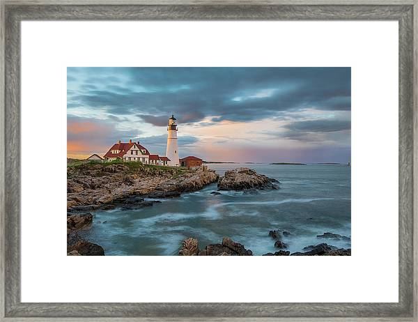 Summer Sunset At Portland Head Light Framed Print