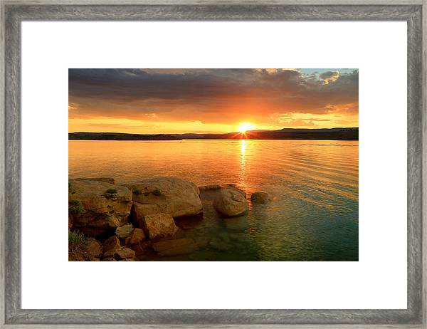 Summer Sunset At Starvation Reservoir. Framed Print