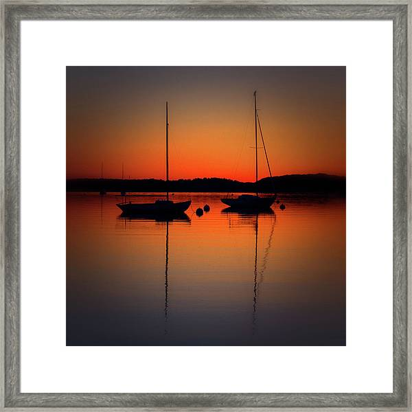 Summer Sunset Calm Anchor Framed Print