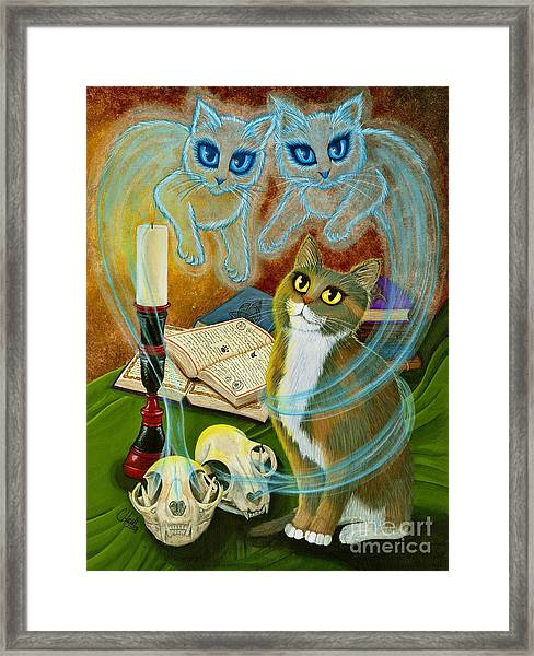 Summoning Old Friends - Ghost Cats Magic Framed Print