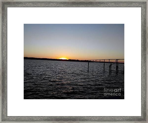Sun Going Down Near Gov Thomas Johnson Bridge Framed Print