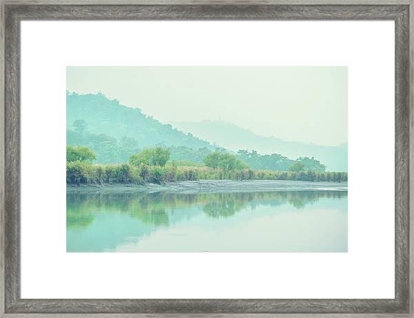 Sun Moon Lake Pastels Framed Print