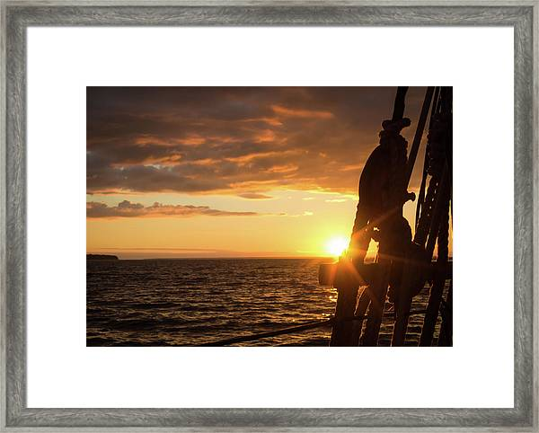 Sun On The Horizon Framed Print