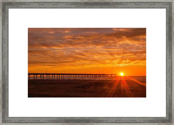 Sun Rising At Port Aransas Pier Framed Print